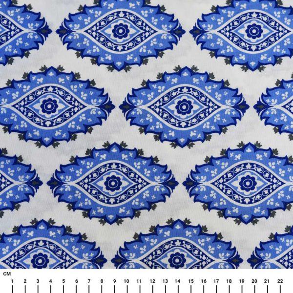 בד כותנה מעוצב הדפס מנדלות כחולות