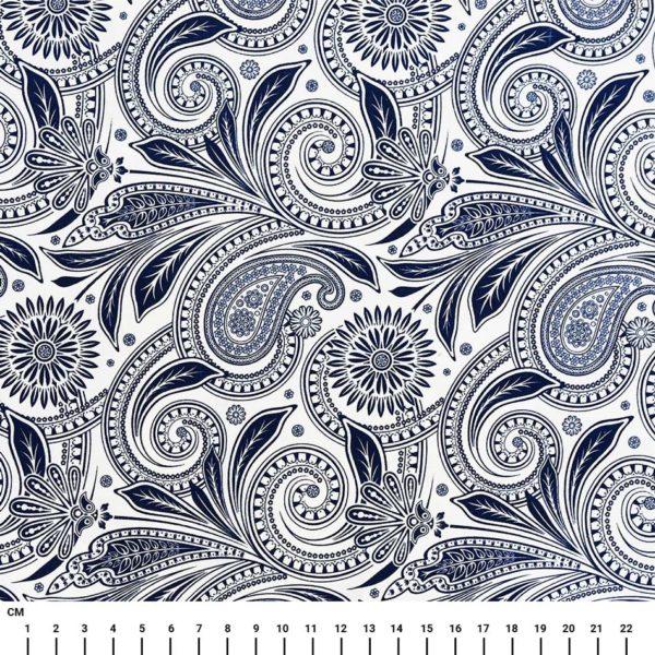בד כותנה מעוצב הדפס בנדנה פייזלים כחול