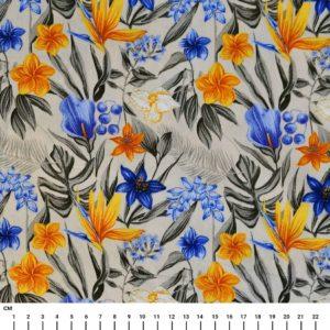 בד כותנה מעוצב הדפס פרחים טרופיים שמנת