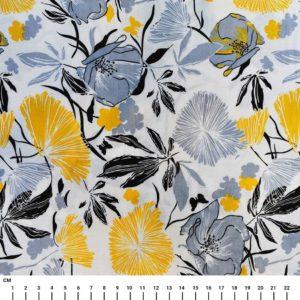בד כותנה מעוצב הדפס פרחים אפור-צהוב