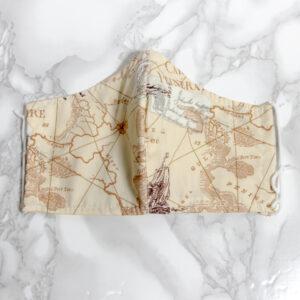מסיכה דגם מפות, מסיכת פנים מסיכה לקורונה, מסיכת כותנה מעוצבת